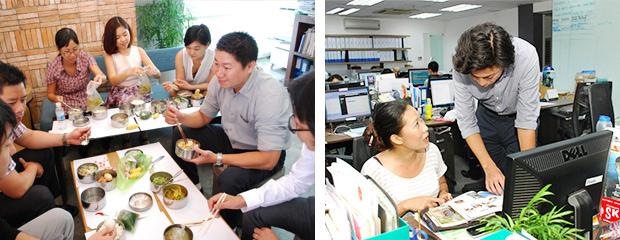 社内の使用言語は、日本語・英語・ベトナム語。ランチには、お弁当を頼んでみんなで食べることもあるなど、日本人とベトナム人の壁はなし!